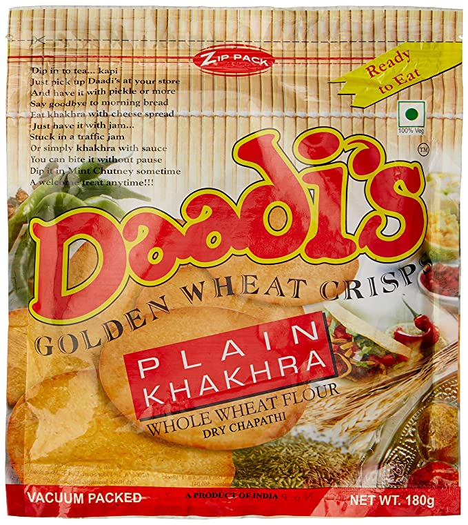 Daadi's Plain Khakhra, 180g Khakhra at amazon