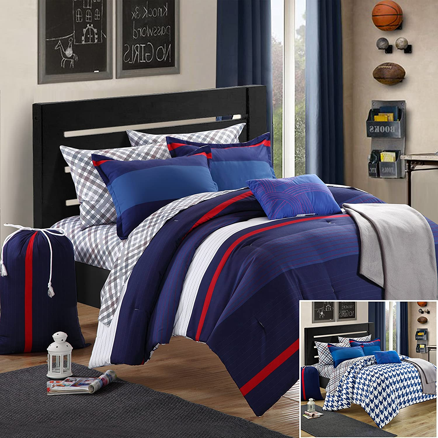 Chic Home Back to School Trevor 7-Piece Comforter Set Twin Size Xtra-Long, Shams Decorative Pillows and Sheet Set Included