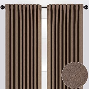 Chanasya 2-Panel Two Color Tone Textured Heavy Curtains - for Windows Living Room Bedroom Patio Office - Partial Room Darkening Window Treatment Drapes for Home Decor 52 x 63 Inches Long - Brown