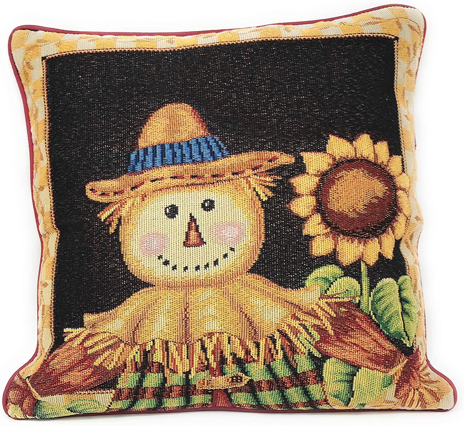 Tache Sunflower Field Scarecrow Thanksgiving Autumn Harvest Country Farmhouse Vintage Decorative Woven Tapestry Cushion Throw Pillow Cover, 16 x 16, 1 Piece
