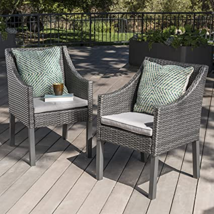 Antioch Outdoor Wicker Dining Chairs With Water Resistant Cushions (Set Of  2) (Grey
