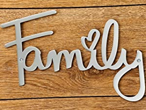 Way Of Hearts Metal Family Sign - Farmhouse Decor- Family Wall Art – Decorations for Living Room Decor - Wall Decoration Signs for Home Decor -Metal Wall Art - Bedroom Decor : Silver, 8.7 x 6.3