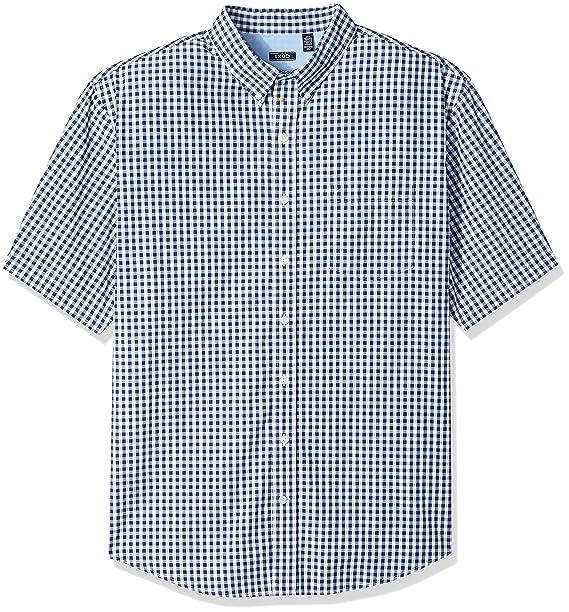 37edb8a4 Izod Men's Big and Tall Breeze Short Sleeve Button Down Gingham Shirt,  Estate Darkblue,