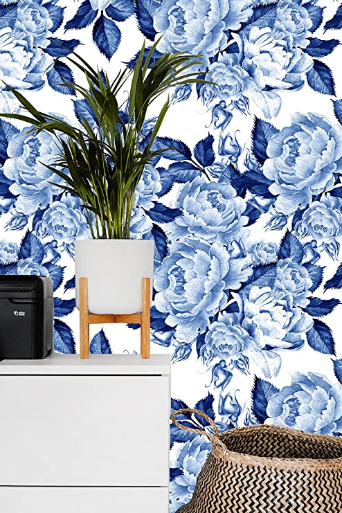 blue floral peel and stick wallpaper wall murals decalsremovable wallpaper mural peel stick peonies flowers chinoiserie