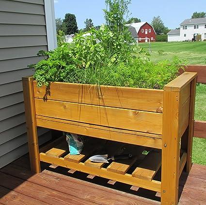 Amazon.com : Infinite Cedar Elevated Planter Box with Shelf : Garden ...