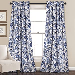 "Lush Decor Cynthia Jacobean Room Darkening Window Panel Curtain Set (Pair), 84"" L, Blue"