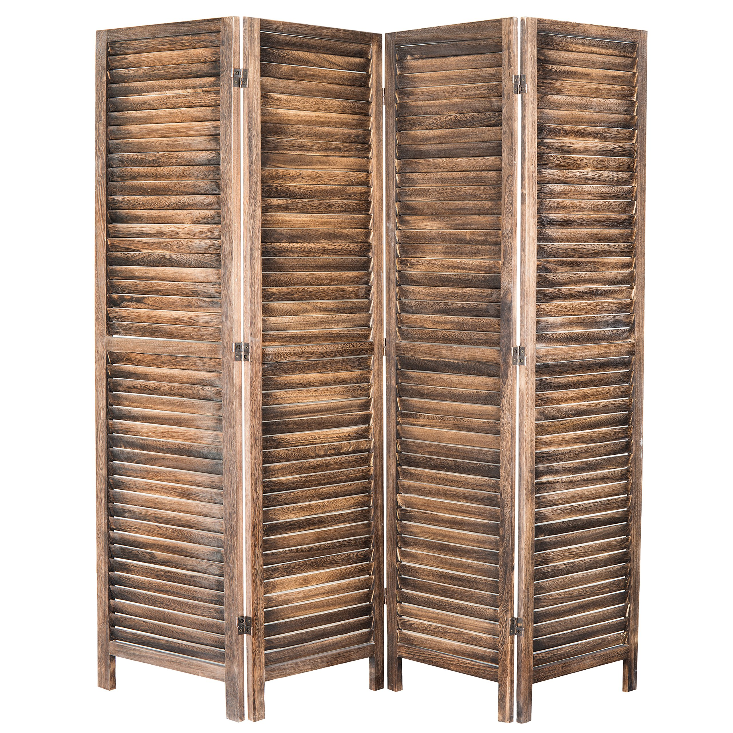 MyGift 4-Panel Rustic Brown Wood Louvered Room Divider with Dual-Action Hinges by MyGift