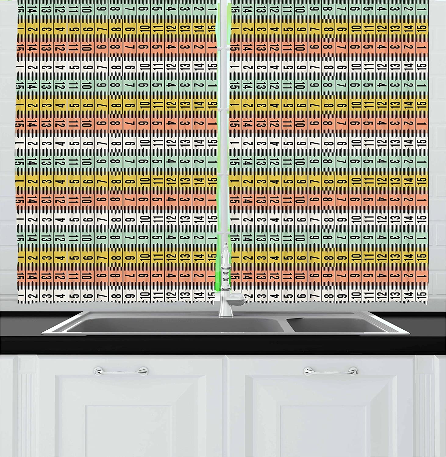 Ambesonne Pastel Kitchen Curtains, Fashion Couture Horizontal Measuring Tape Tailor Pattern Illustration with Numbers, Window Drapes 2 Panel Set for Kitchen Cafe, 55 W X 39 L Inches, Multicolor