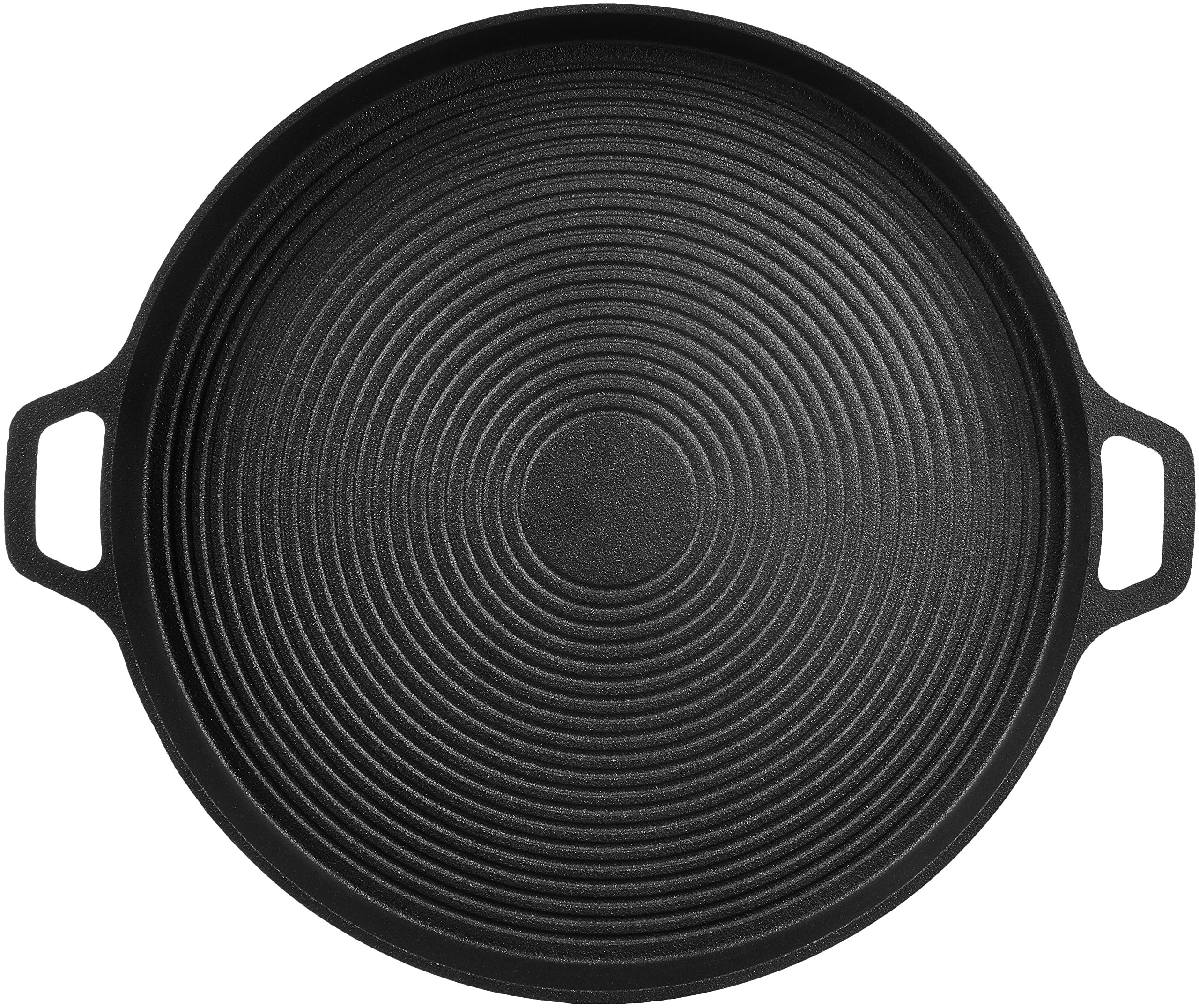 AmazonBasics Pre-Seasoned Cast Iron Pizza Pan, 13.5 Inch 6 13.5-inch pre-seasoned cast-iron pizza pan for baking pizza to delicious perfection Heavy-duty cast-iron construction provides optimal heat retention and thorough, even heating 2 loop side handles for a steady, secure hold when lifting or carrying