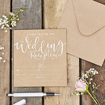 Ginger Ray Natural Kraft With White Text Wedding Reception Invitations