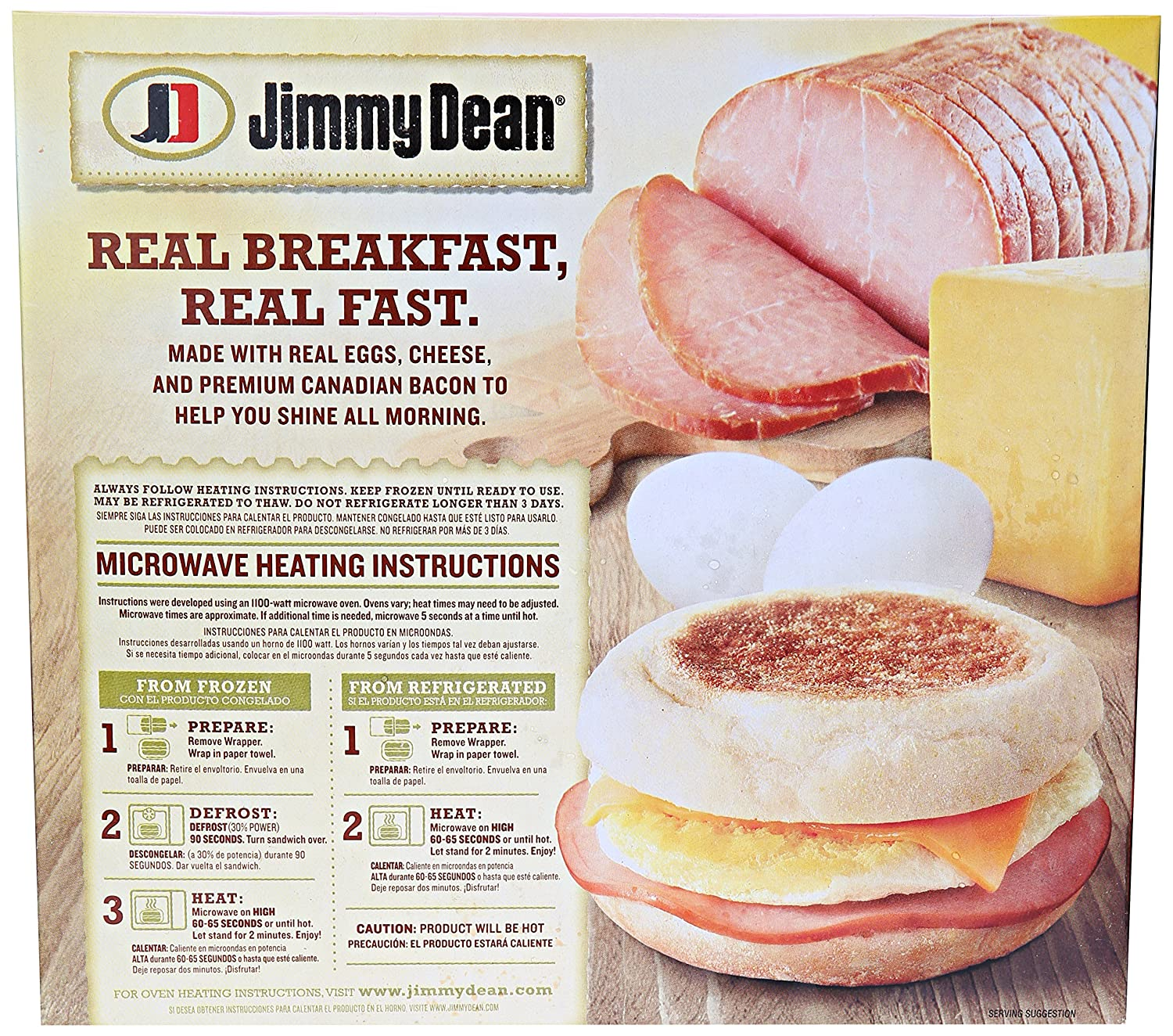 Jimmy Dean, Canadian Bacon, Whole Cracked Egg & Cheese English Muffin Sandwiches, 4 Count (Frozen): Amazon.com: Grocery & Gourmet Food