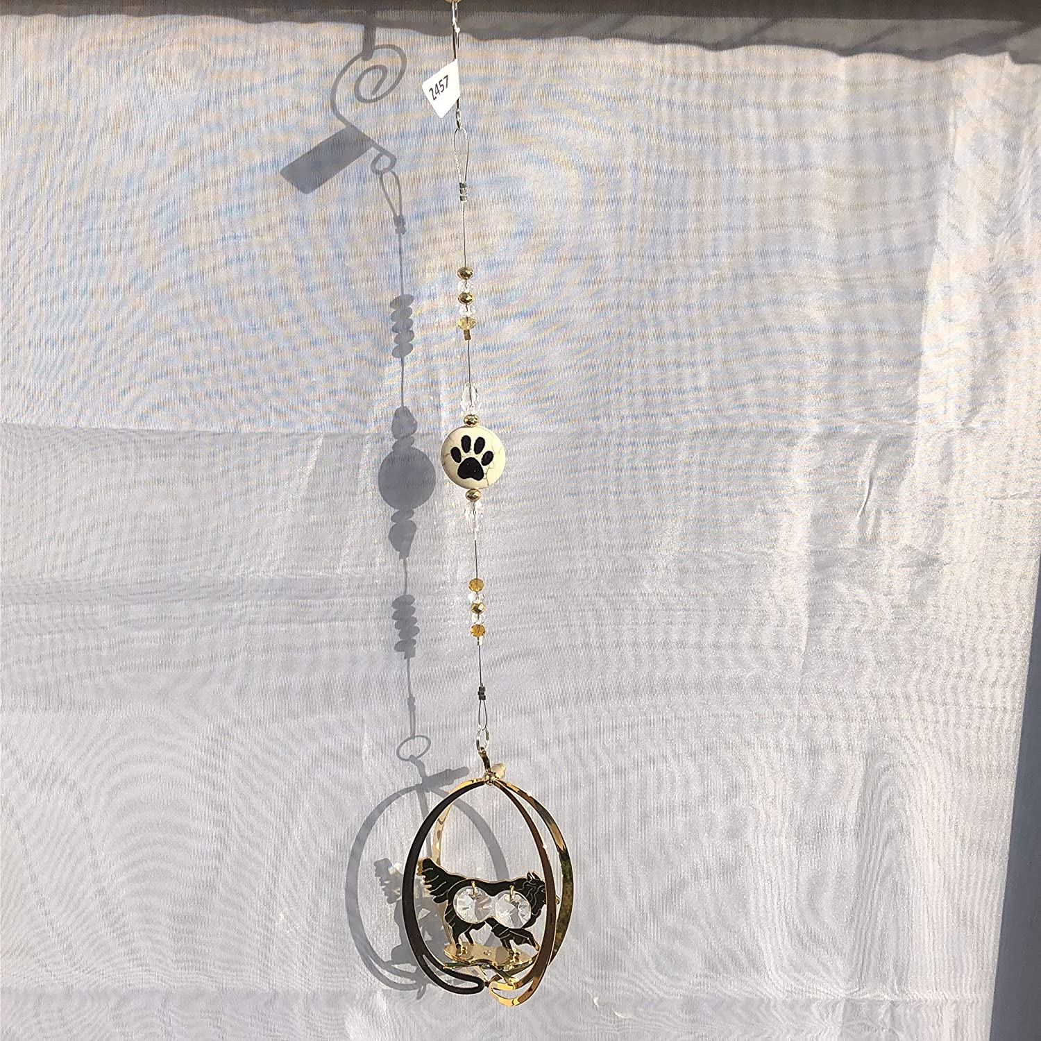 BORDER COLLIE Gold Dog Suncatcher Clear Crystals 2457 paw print bead dog owner christmas birthday gift loss of dog present groomer sitter watcher vet puppy present