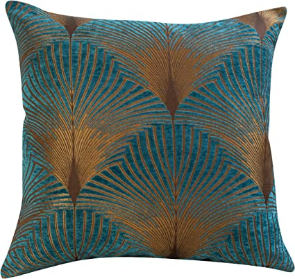 Linen Loft Extra Large Art Deco Fan Cushion Cover Teal And Gold Velvet Chenille Double Sided Geometric Feather Style 23 X23 Square Floor Pillow Case Amazon Co Uk Kitchen Home