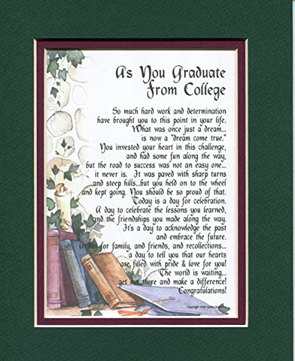 amazon com 143 a graduation gift present poem for the college