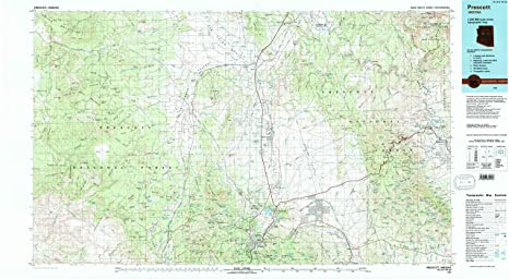 Map Of Arizona Prescott.Amazon Com Yellowmaps Prescott Az Topo Map 1 100000 Scale 30 X