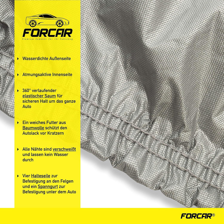 Version 2020 FORCAR/® Premium Autoplane aus hochwertigem und wasserdichtem Material Autoabdeckung Autoabdeckplane Atmungsaktiv und einfache Befestigung Vollgarage mit Innenfutter aus Baumwolle