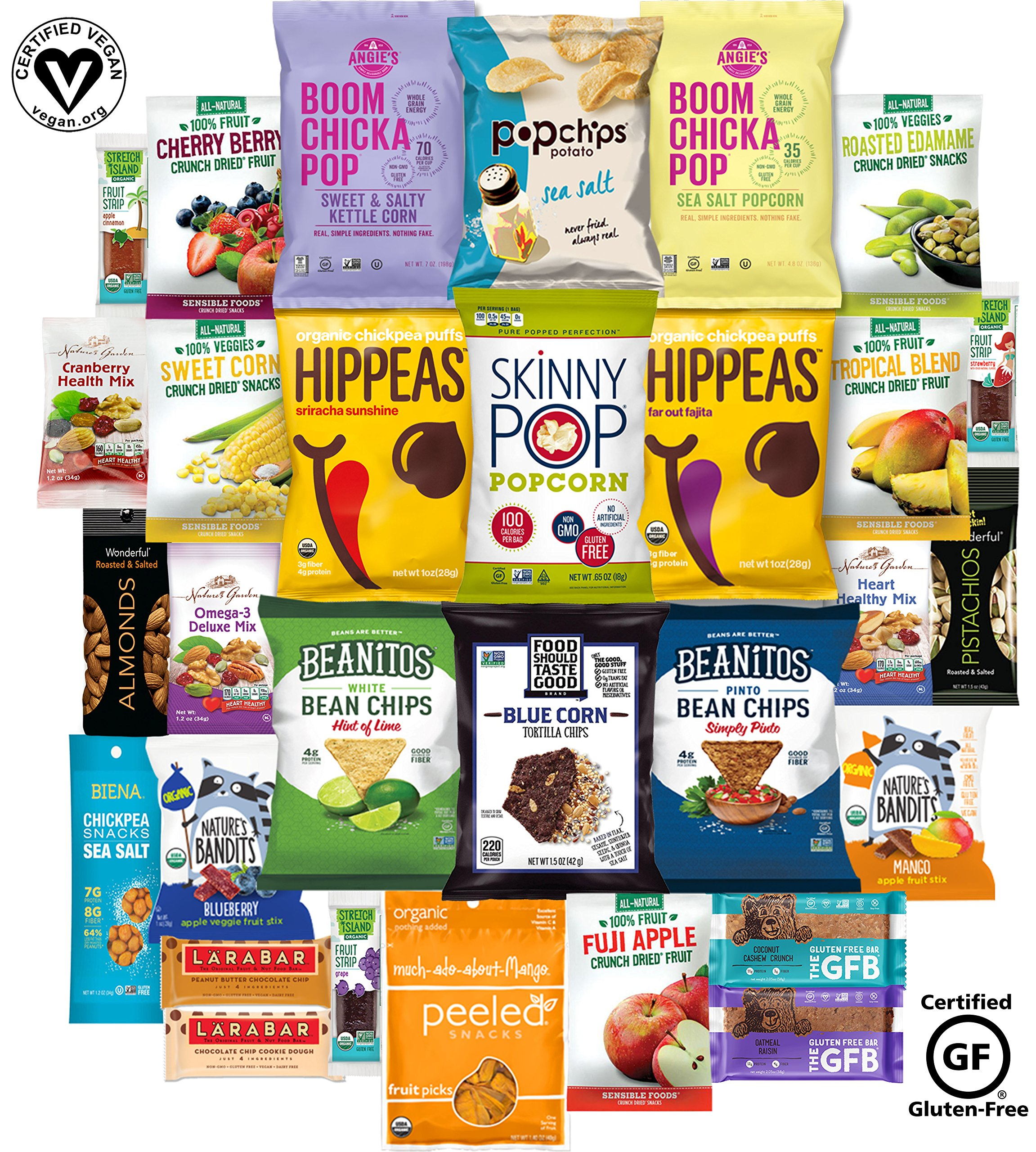 Healthy Vegan Snacks Care Package (30 Count) - Mixed Premium Variety Pack - Includes Chickpea Puffs, Popcorn, Chips, Trail Mix, Fruit, Health Bars - Multiple Flavors Fun Snack Gift Box