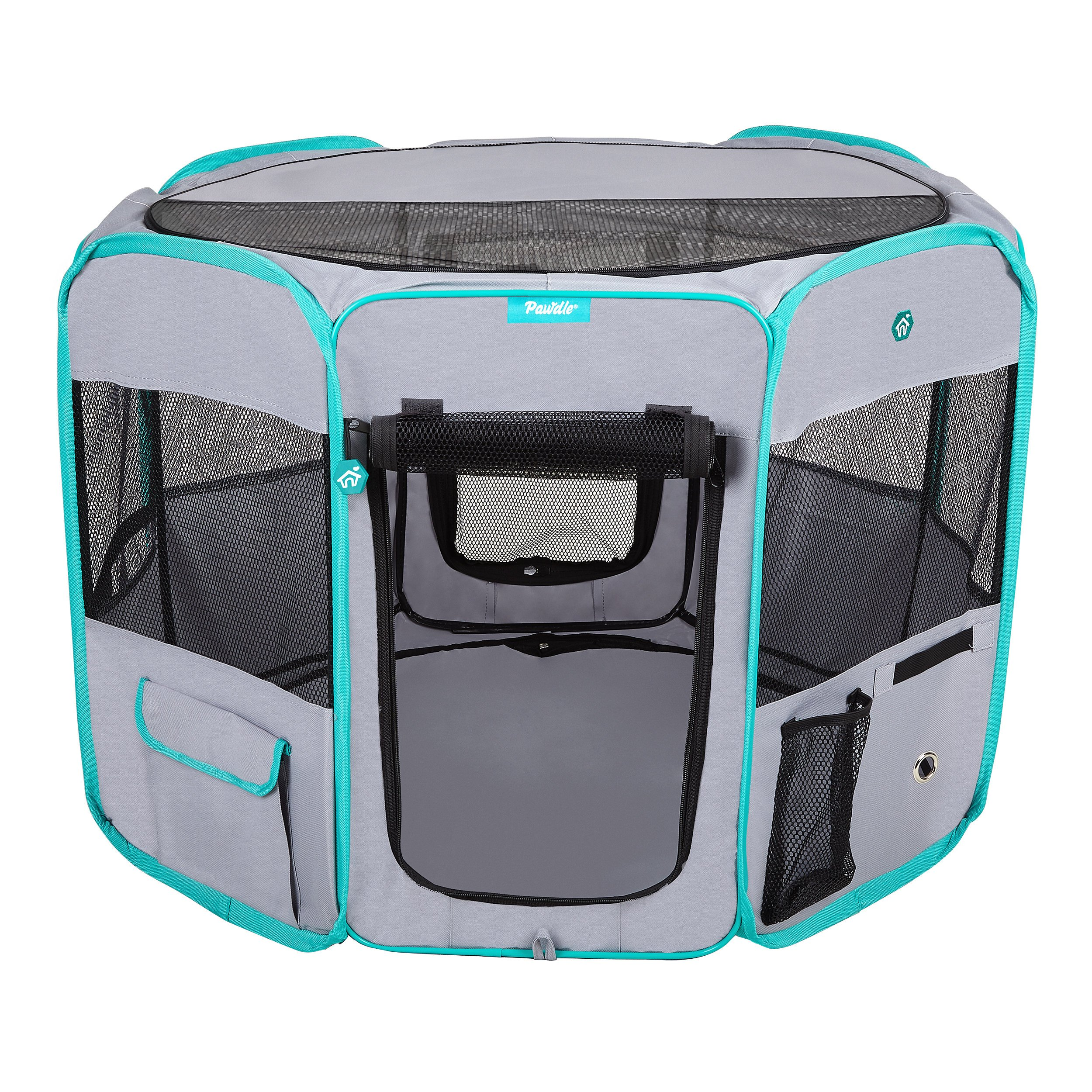 DELUXE PREMIUM Pet Dog Playpen Portable Soft Dog Exercise Pen Kennel with Carry Bag for Dogs, Cats, Kittens, and all Pets (Medium, Grey)