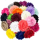 """JLIKA (50 pieces) Shabby Flowers - Chiffon Fabric Roses - 2.5"""" - Solids Color Mix - Single Flowers Grab Bag"""