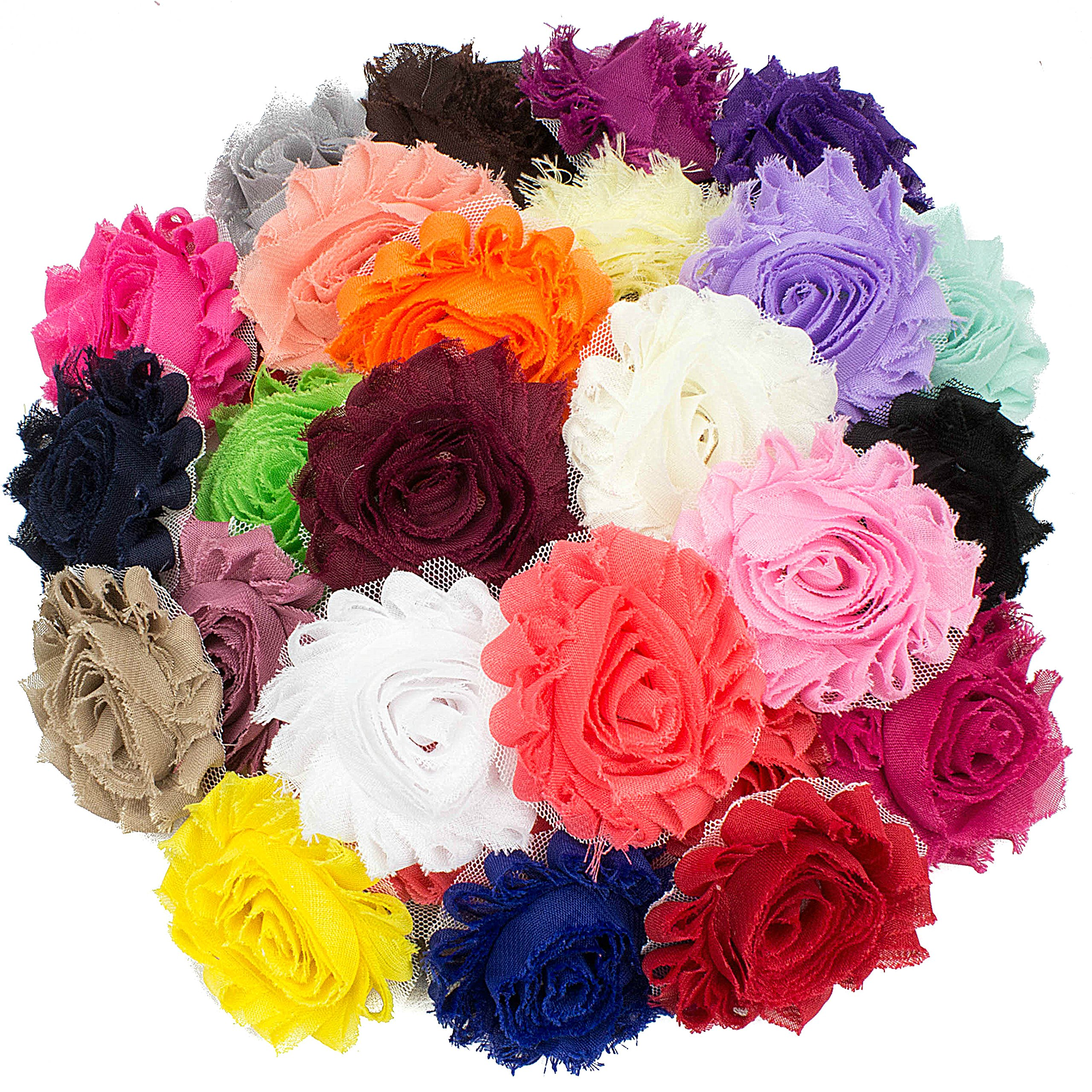 JLIKA 50 pieces Shabby Flowers - Chiffon Fabric Roses - 2.5'' - Solids Color Mix - Single Flowers Grab Bag