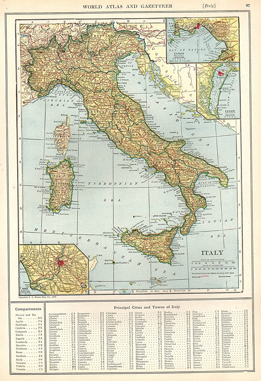 Italy Map 1500.Amazon Com 1926 Antique Italy Map Original Vintage Map Of Italty