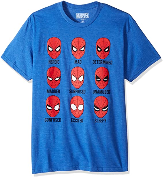 9a41f2e9 Marvel Men's Many Expressions of Spider-Man Homecoming T-Shirt, Royal  Heather,