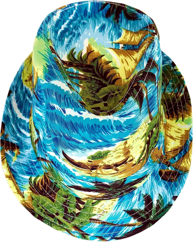 CLUB CUBANA Hawaiian Fedora Hats for Men Women Unisex Trilby Hat Panama Style Summer Beach Sun Jazz Luau Costume Party Cap