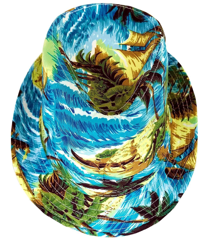 CLUB CUBANA Hawaiian Fedora Hats for Men Women Unisex Trilby Hat Panama Style Summer Beach Sun Jazz Luau Costume Party Cap AMZ_S_CCFH7