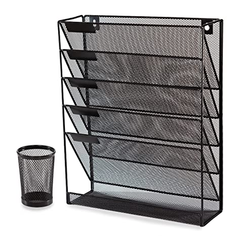 Great Black Mesh Desk And Wall Organizer File Holder Literature Mail Magazine Rack  With Free Pen Holder