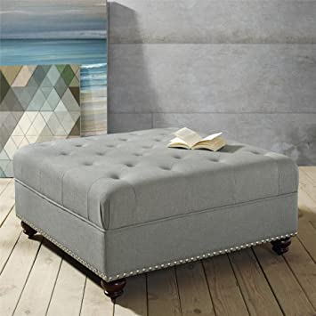 Sensational Dorel Living Hastings Tufted Ottoman With Nailheads Gray Pabps2019 Chair Design Images Pabps2019Com