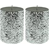 """Jay Imports Silver Shimmering Glitter Finish 3"""" X 4"""" Pillar Candle, Set of 2"""