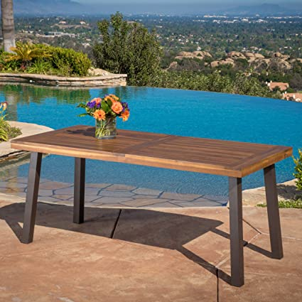 amazon com daria natural stained acacia wood dining table garden