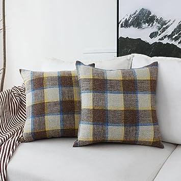 Perfect HOME BRILLIANT 2 Pack Decorative Throw Pillows Covers Checkered Plaids  Cotton Linen Farmhouse Rustic Retro Pillow