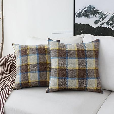 HOME BRILLIANT Funda de cojín decorativa de rayas para sofá ...