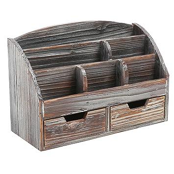 Mygift Distressed Wood Desk Organizer  Drawer Supplies Rack Brown