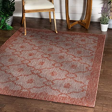 Amazon Com Sunna Coral Pink Indoor Outdoor Flat Weave Pile Moroccan Trellis Pattern Area Rug 8x10 7 10 X 9 10 Kitchen Dining