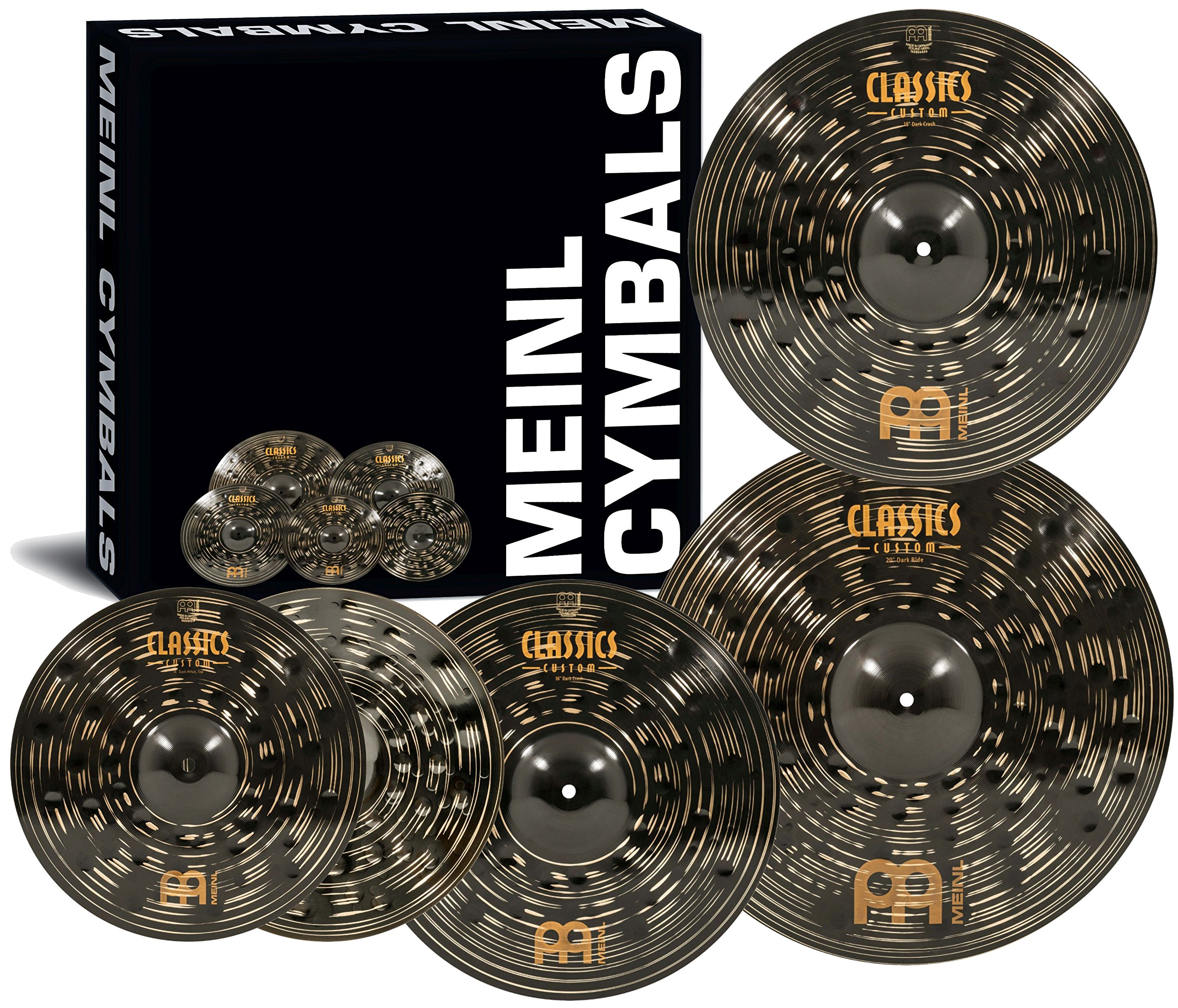 Meinl Cymbal Set Box Pack with 14'' Hihats, 20'' Ride, 16'' Crash, Plus a FREE 18'' Crash - Classics Custom Dark - Made In Germany, TWO-YEAR WARRANY (CCD460+18) by Meinl Cymbals