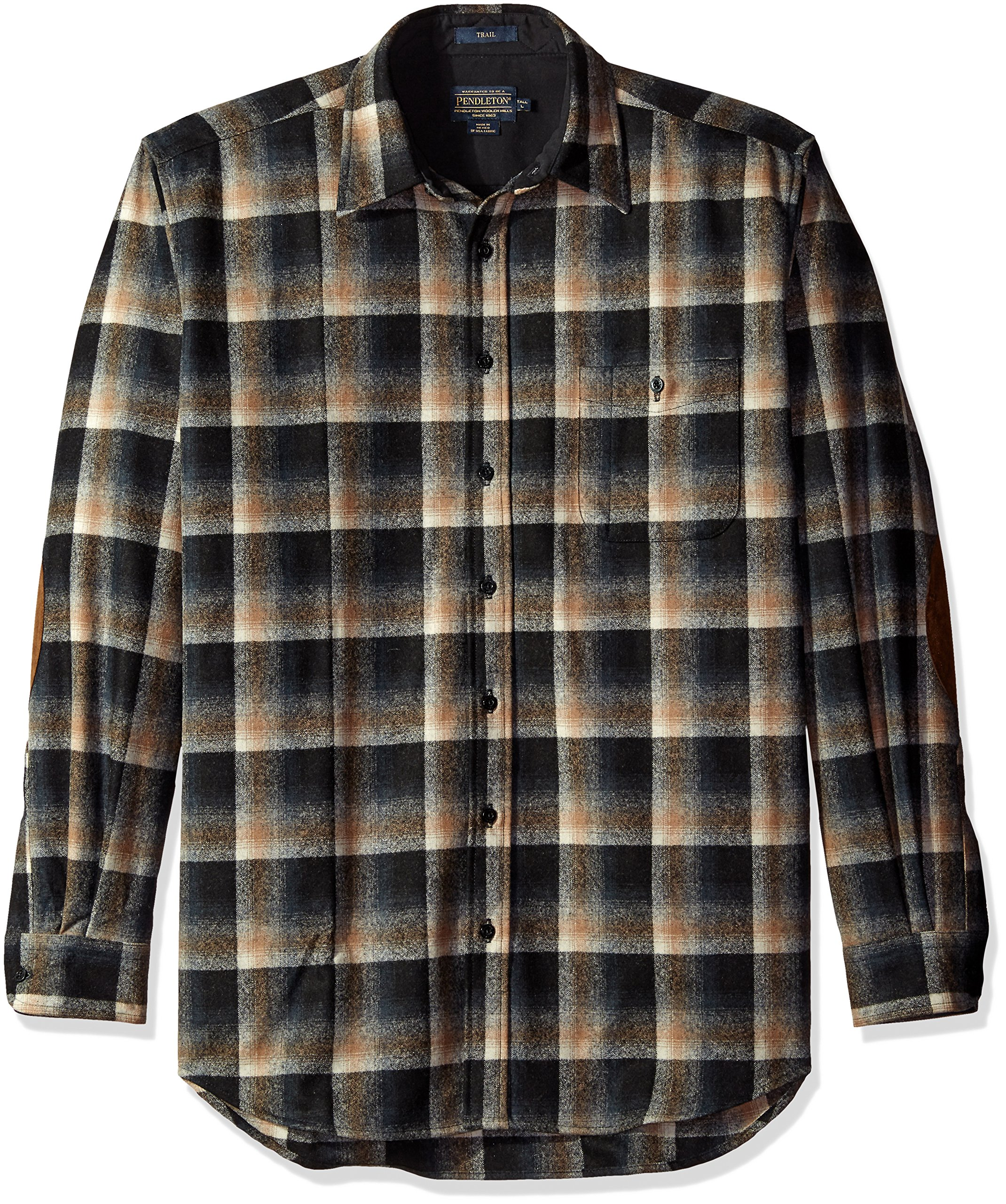 Pendleton Men's Big and Tall Long Sleeve Trail Shirt, Black/Brown Ombre-31859, LG