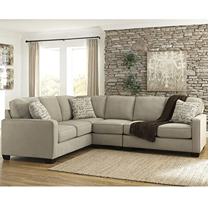 Flash Furniture Signature Design By Ashley Alenya 3 Piece LAF Sofa Sectional  In Quartz Microfiber