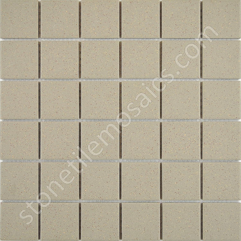 Beige Speckled Unglazed Porcelain Mosaic Square 6x6 Inch Porcelain