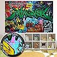 great-art Fototapete Graffiti Wand - 210 x 140 cm 5-teillige Wandtapete Street Style Schriftzüge Fototapete Tapete