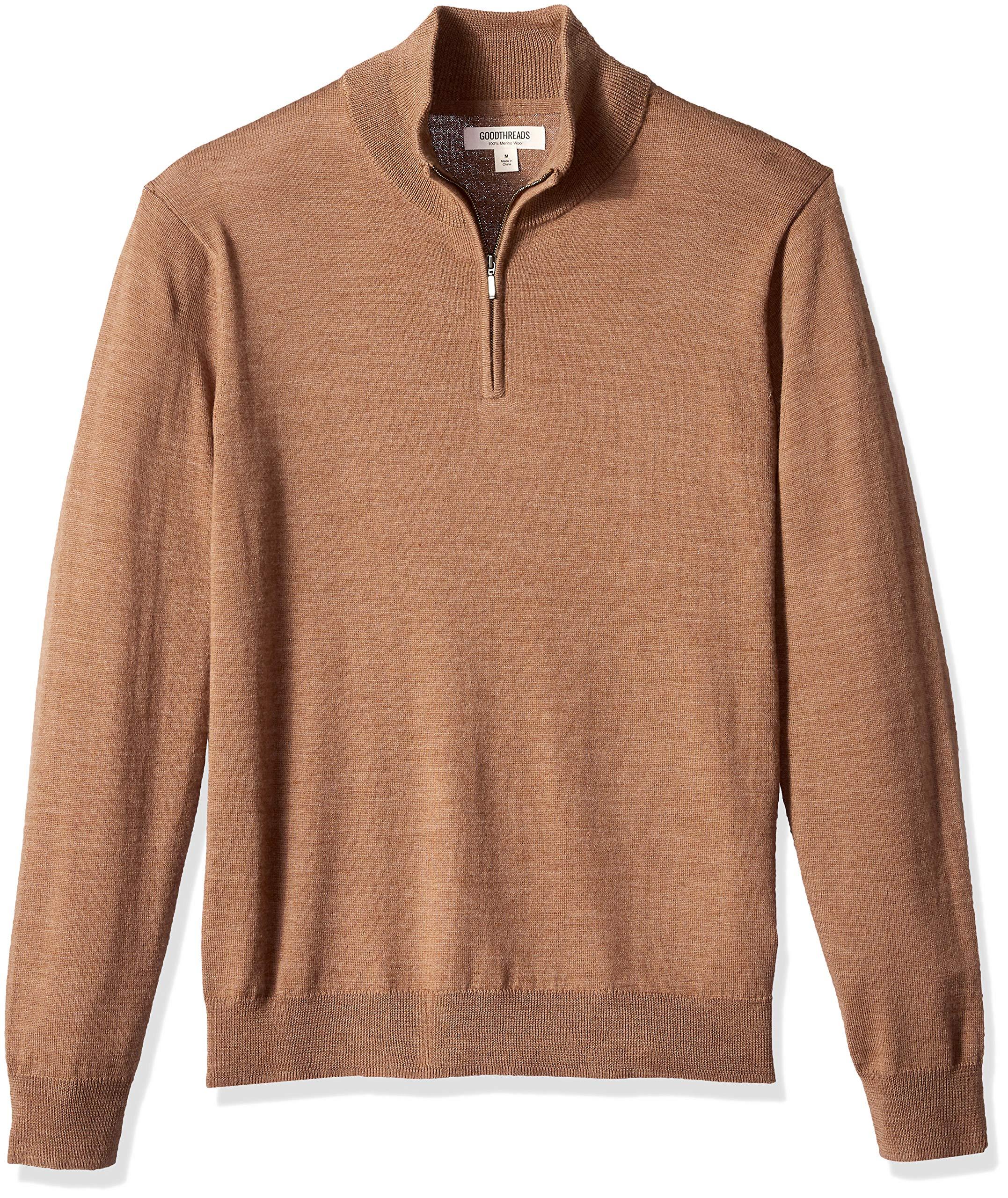 Goodthreads Men's Merino Wool Quarter Zip Sweater, Camel, Small