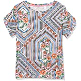 Rafaella Women's Giocosco Floral Print Ruffle Sleeve Crew Neck Slub Tee