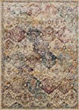 "Loloi Rugs ANASAF-12IVMLC0F0 Anastasia Collection Area Rug, 12'-0"" x 15'-0"", Ivory/Multicolor"