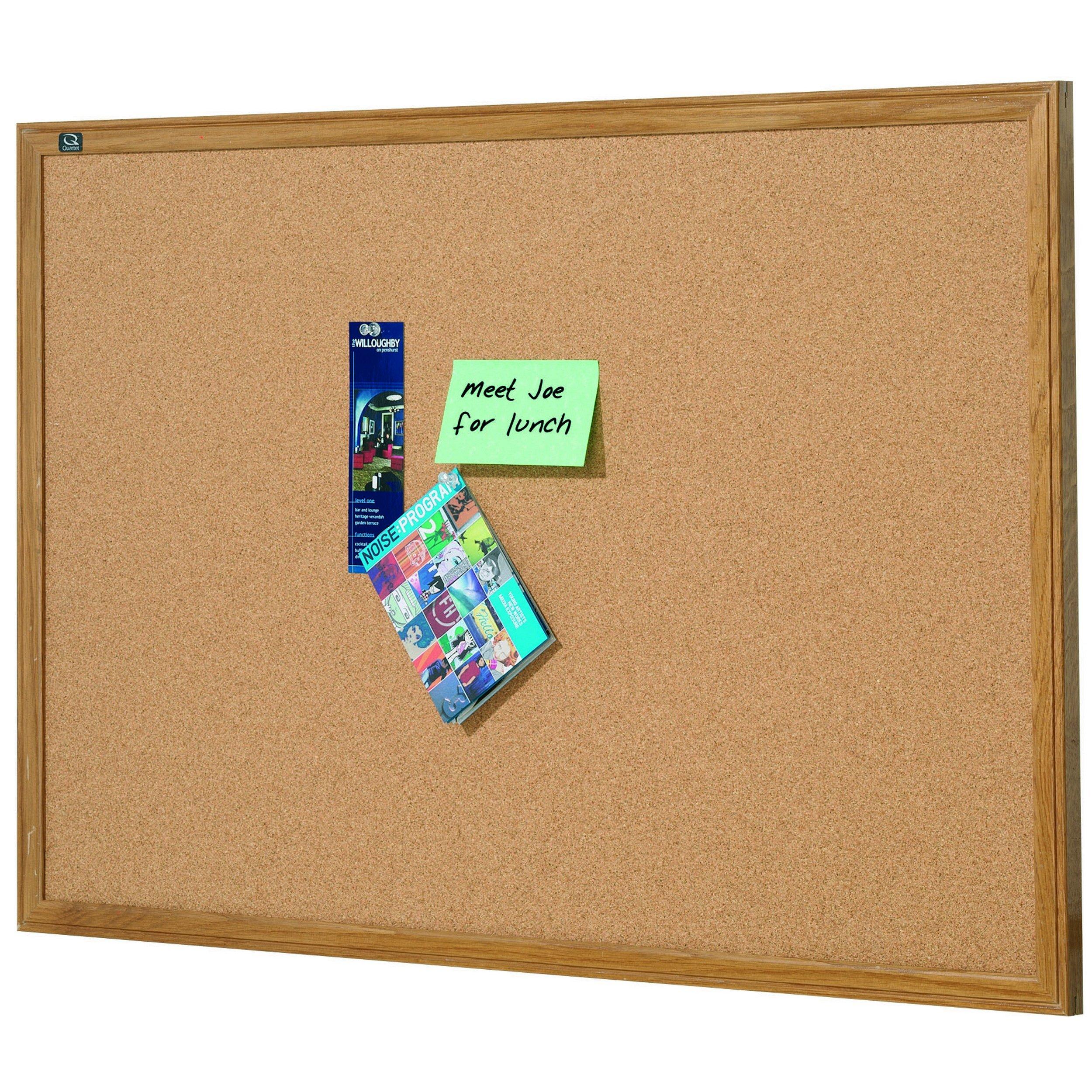 Quartet Oak Finish Frame Cork Bulletin Board, 2' 10'' x 5' (305) by Quartet
