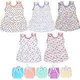 Sathiyas Baby Girls Cotton Gathered Dresses with Nappies (Multicolor, Set of 10, 0-6Months)