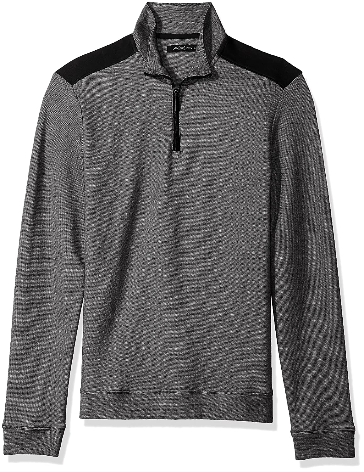 AXIST Mens Long Sleeve Pique 2 Tone Quarter Zip Sweater