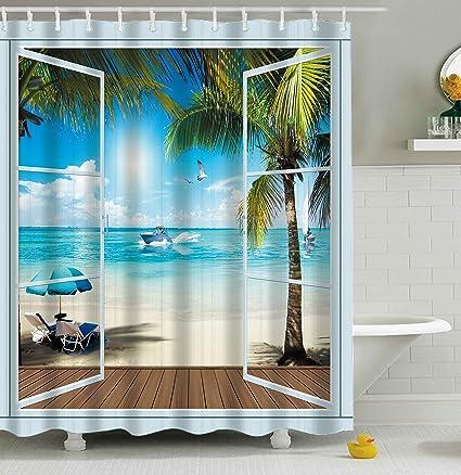 3D Bathroom Shower Curtain Vivid Sandy Ocean Beach Scenery Polyester Waterproof