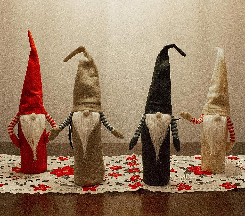 4 Packs Festive Christmas Holiday Wine Covers Gnome for Christmas Wine Bottle Cover, Holiday Decorations Home Decorations, Christmas Wine Bottle Gifts