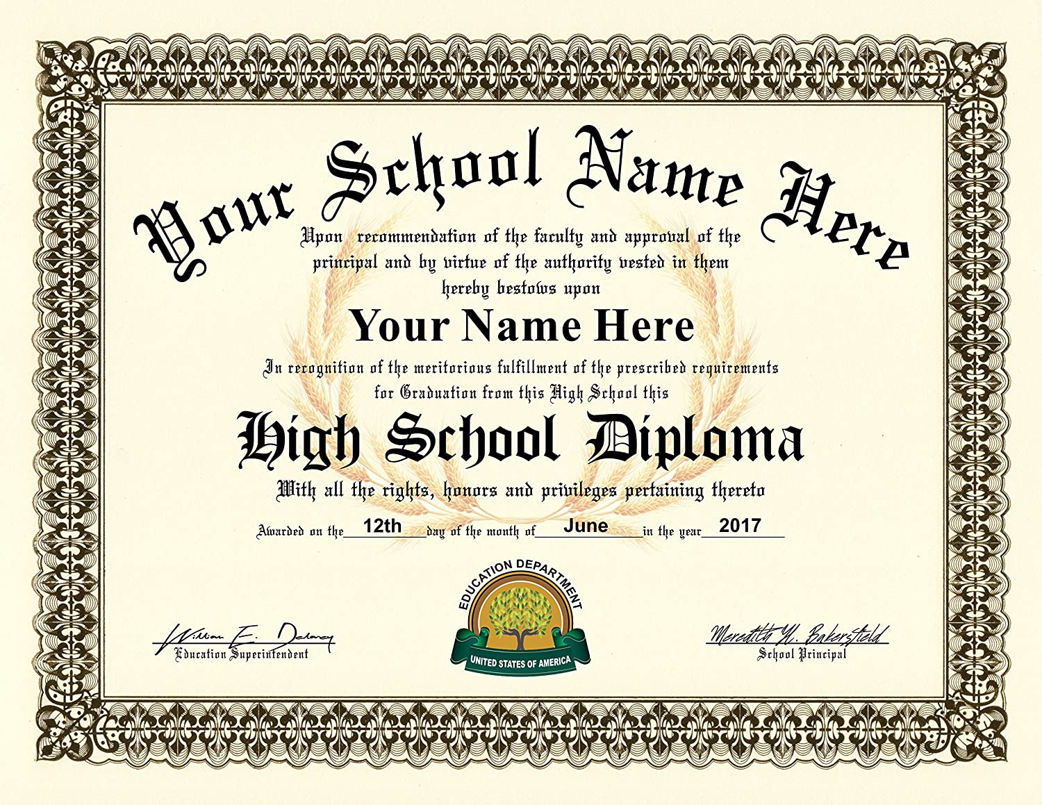 Amazon.com : High School Diploma - Personalized with your Info - Premium  Qaulity - Comes with Certificate Folder : Office Products